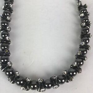 "Ann Taylor Loft Gemstone Necklace Rhinestone Black Beaded 17"" Statement Chunky"
