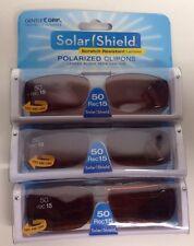 3 SOLAR SHIELD Clip-on Polarized Sunglasses 50 Rec 15 Brown Lens Full Frame