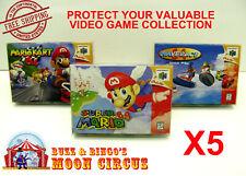 5x NINTENDO 64 N64 CIB GAME BOX - CLEAR PROTECTIVE BOX PROTECTOR SLEEVE CASE