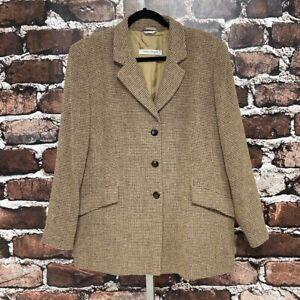 Marina Rinaldi Blazer Suit Coat Giacca Italy Wool Check Print Tan Black Size 16