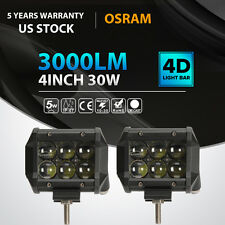 2x 4INCH 30W OSRAM LED Work Light Bar Flood Offroad 4WD Motorcycle JEEP Truck 3""
