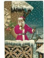 SILK~SANTA CLAUS~TRUMPET~CLOCK-TOWER~ TOYS~SNOW 1907 CHRISTMAS POSTCARD-m370