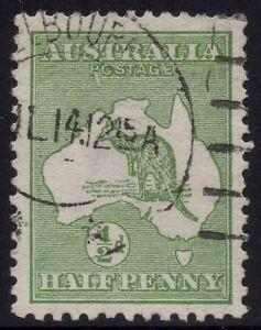 Australia - 1st wmk ½d green kangaroo with ACSC 1(2)e 'Rostage' variety - Used