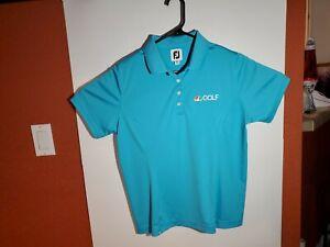 Footjoy Womens Golf Polo Shirt Size Large NBC Sports Golf Logo Blue