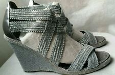 LUXURY REBEL MARISSA Grey Designer Strappy Sandals Wedges UK 6 EUR 39 US 8