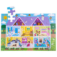 Bigjigs Toys Children's Wooden Dolls House Floor Jigsaw Puzzle (48 Piece)
