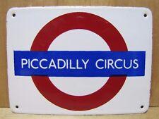 Vtg Porcelain PICCADILLY CIRCUS London Underground Small Enamel Subway Sign