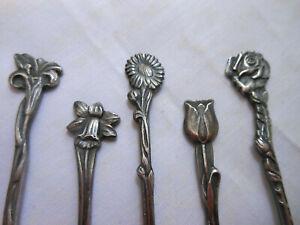 5 Silverplate Demitasse Spoons HOLLAND Tulip Daffodil Sunflower Rose Flowers