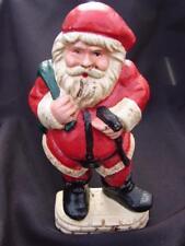 Old Rustic Cast Iron Santa Claus Door Stop Christmas Vintage