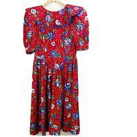 Leslie Lucks Vintage Size 14 Dress Drop Waist Prom Big Bow Floral Rose Red Dot