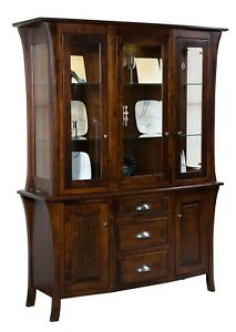 Amish Transitional Hutch China Cabinet 3-Door Glass Solid Wood Ensinada 60""