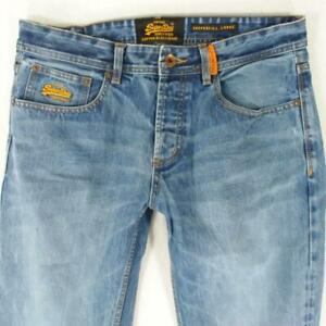Mens SuperDry COPPERFILL LOOSE Relaxed Straight Blue Jeans W34 L32