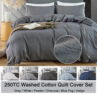 Washed COTTON Quilt Cover Set 3pc Charcoal Grey White Navy Blue Doona Cover Set