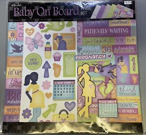 """The Paper Studio, Baby On Board Scrapbooking Page Kit with Stickers 12""""x12"""""""