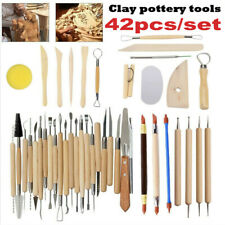 Wooden Clay Sculpting Tools Set Pottery Carving Modeling Art Handle Kit 42Pcs