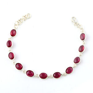 Beautiful 925 Sterling silver Imitation Ruby stone bracelet Jewelry for gift