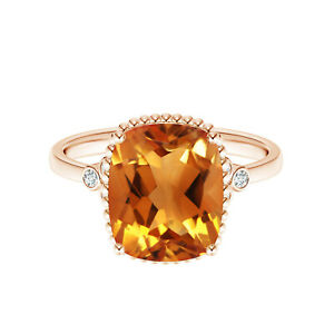 2.90 Cts Natural Cushion Cut Beaded Citrine 9K Rose Gold Cocktail Ring US-6