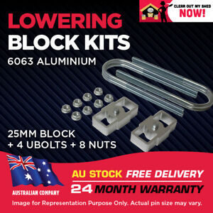 """Lowering Blocks Kit Ford Courier 1"""" (25mm) 1978-2006 75mm ID U-Bolts"""