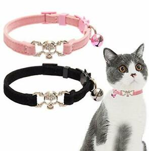 Cat Collar Breakaway Bling Skull with Bell - 2 PCS Charming Pet Collars with ...