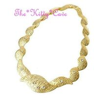 Unusual Matte Gold Textured Deco Links Crystal Statement Collar Choker Necklace
