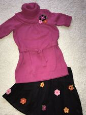 Gymboree All About Buttons felted flower pink sweater tunic top skirt size 9 10