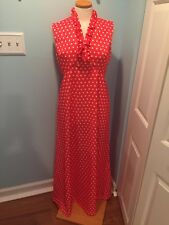 Vintage 70's Poly Maxi Red Polka Dot Dress S/M