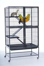 "Feisty Ferret Home Four-Level Small Animal Cage 41.5""H with Wheels, Hammock"