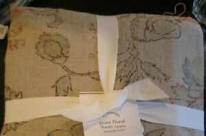 Pottery Barn Grace Floral  Duvet Cover full queen  cotton linen  New
