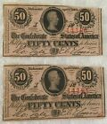 Pair of Civil War Confederate 50c Notes Consecutive Numbers Dated 1863 for sale