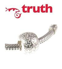 genuine TRUTH PK 925 sterling silver PUZZLE PATTERN spacer charm bracelet bead