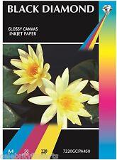50 Hojas A4 220gsm Brillante De Lona con textura de inyección de tinta blanco papel fotográfico Blackdiamond