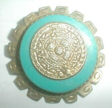 Vtg MEXICO MCM SILVER AZTEC TURQUOISE CALENDAR PENDANT~PIN ART 2 WEAR see all!