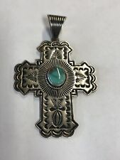 Kingman Turquoise SS Cross Pendant By Albert Jake, Navajo, Native American #683