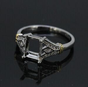 14K White Gold Diamond Accent Halo Design 6X8 mm Semi Mount Ring Setting