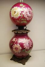 Gone With The Wind Gwtw Antique Oil Kerosene Banquet Roses Chrysanthemum Lamp