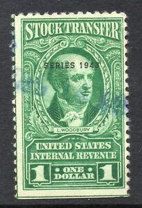 USA = $1.00 Stock Transfer Internal Revenue, Series 1943 Scott RD150 Used (a)