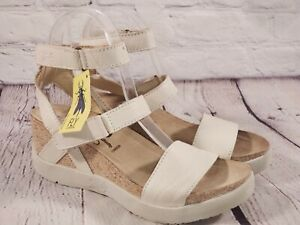 FLY LONDON Leather Wedge Ankle Strap Sandals - Wink - White Cream - EU 37