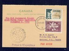 51484) KLM Polar FF Biak - Amsterdam 8.11.58, Canada reply card via Brüssel