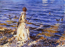 Oil painting Sargent - Girl Fishing by the river with swimming Little Ducks