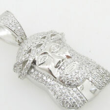 Mens 925 Italian Sterling Silver Jesus  mini micro pendant with crown prong high