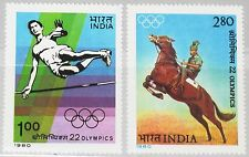 INDIA INDIEN 1980 834-35 868-69 Olympics Moscow High Jump Equestrian Sports MNH