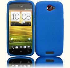 For T Mobile HTC ONE S  Rubber Silicone Gel SKIN Phone Case Cover Blue