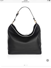 New Auth Tory Burch $450 Duet Hobo Leather Shoulder Bag, Black