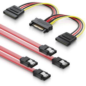 deleyCON SATA Kabel Set 2x SATA III Kabel + Strom Adapter PC HDD SSD Festplatte
