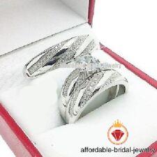 Diamond Trio Set His Hers Engagement Ring Bridal Wedding Band 14K White Gold FN