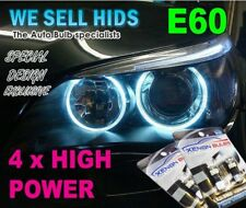 4X BMW E60 XENON WHITE ANGEL EYE LED CANBUS 501  5 series E61 Rings HEAT SINK