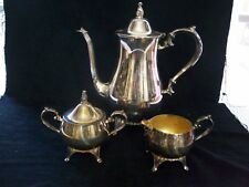 Silver Plated Coffee / Teapot with Creamer & Sugar Bowl International Silver Co.