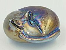 Neo Art Glass handmade blue sleeping cat paperweight sculpture ornament K.Heaton