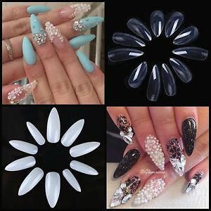 New! LONG STILETTO FULL COVER Sharp Nail Tips **YOU CHOOSE!**