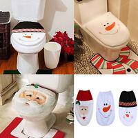 Christmas Xmas Happy Santa Snowman Toilet Seat Lid Mat Cover Bathroom Decoration
